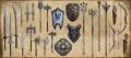 Hergestellte Waffen und Schilde