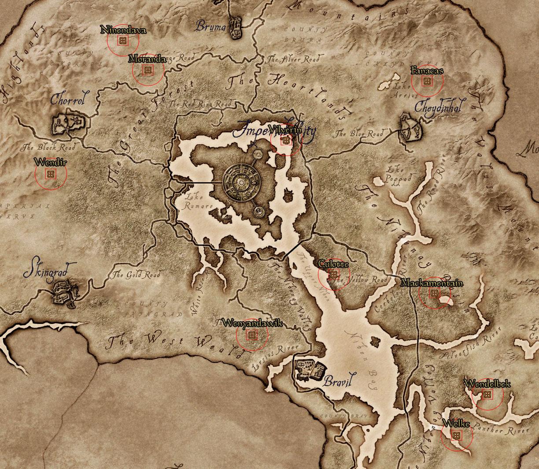 Oblivion Karte.Fundorte Der Statuen Der Ayleiden